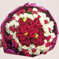 101 троянда: купити величезний букет троянд з доставкою в Києві