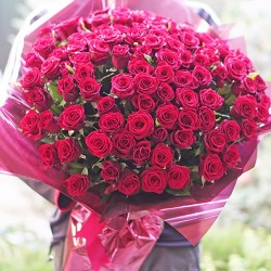 101 red roses height 60 cm