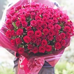 101 красная роза высота 60 см
